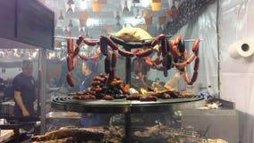 De schotel van het het varkensvleesvoedsel van het gastronomievlees stock videobeelden
