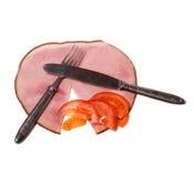 De schotel van het vlees met groenten die op wit worden geïsoleerdn Royalty-vrije Stock Afbeelding