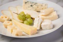 De schotel van de kaasplaat met selectie Edamer, Parmezaanse kaas, geit, blauw en roomkaas, edele en druiven op marmeren achtergr stock foto