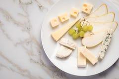 De schotel van de kaasplaat met selectie Edamer, Parmezaanse kaas, geit, blauw en roomkaas, edele en druiven op marmeren achtergr royalty-vrije stock foto