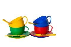 De schotels van het stuk speelgoed stock afbeelding