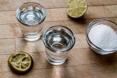 De Schoten van Mezcaltequila met Kalk en Zout stock afbeelding