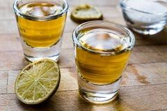 De Schoten van Mezcaltequila met Kalk en Zout stock afbeeldingen