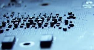 De schoten van schuifdollymacro van de oppervlakte van de delenspaanders van de computerhardware, motherboard, cpu, curcuits 4K s