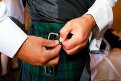 De Schotse Kledij van het Kilthuwelijk stock foto