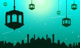 De schrapers van de moskeehemel in lichte nacht vector illustratie