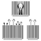 De schreeuw, consumentismeslachtoffers, creatieve streepjescodes Royalty-vrije Stock Foto