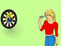 De schreeuwen en de spelen van het pop-artmeisje in een muur opgezette schietbaan Pijltje in een foto van een mens Imitatie grapp royalty-vrije illustratie