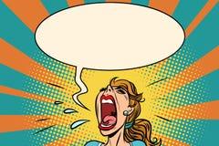 De schreeuwen van het meisjespop-art in paniek royalty-vrije illustratie