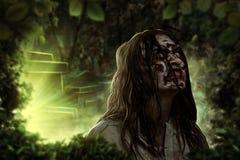 De schreeuwende vrouwelijke zombie Begraafplaats Halloween Royalty-vrije Stock Afbeeldingen