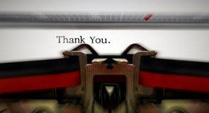 De schrijfmachine met tekst dankt u Royalty-vrije Stock Afbeelding