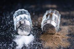 De schudbekers van het zout en van de peper royalty-vrije stock foto's