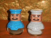 De schudbekers van het zout en van de peper stock foto