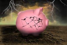 De Schuld Failliet Geld van het spaarvarken royalty-vrije stock foto's