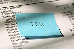 De schuldbekentenis van de lening Stock Afbeeldingen