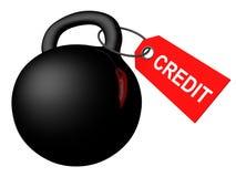 De schuldconcept van het krediet zwaargewicht op wit Stock Afbeeldingen