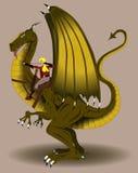 De schutter die van de vrouw een draak berijdt vector illustratie