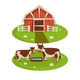 De schuur van het landbouwbedrijfhuis of landbouwerslandbouw en vee die vlakke beeldverhaalpictogrammen bewerken royalty-vrije illustratie