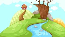 De schuur van het landschap op berg Royalty-vrije Stock Afbeelding