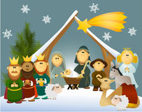 De scène van de beeldverhaalgeboorte van christus met heilige familie Stock Foto's
