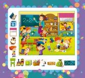 De scène van de beeldverhaalkleuterschool - pret en spel Royalty-vrije Stock Foto's