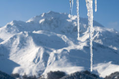 De scène van de winter met ijs en sneeuw Royalty-vrije Stock Foto's
