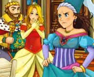 De scène van het beeldverhaalsprookje - prins en prinses Stock Foto's