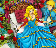 De scène van het beeldverhaalsprookje - prins en prinses Stock Fotografie