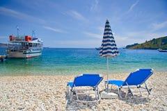 De scène van het strand van het eiland van Korfu Stock Fotografie
