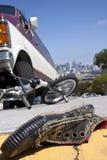 De Scène van het Wrak van de fiets Stock Afbeeldingen