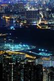 De scènes van de nacht van high-density gebouwen Royalty-vrije Stock Afbeeldingen