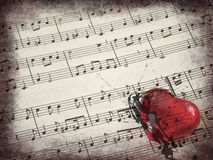 De score & het hart van de muziek stock foto's
