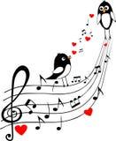 De score van de liefde met twee zwarte vogels Royalty-vrije Stock Fotografie