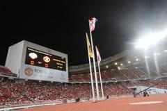 De scoreraad toont de score op de eerste helft tussen Manchester United versus Singha All Star Stock Afbeeldingen