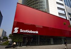De Scotiabankbouw in San Isidro, het bank financiële district stock foto's