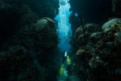 De scuba-duiker zwemt door tunnel Stock Foto