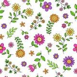 De Seamless Pattern Vector van Daisy Flower Doodles Royalty-vrije Stock Afbeelding