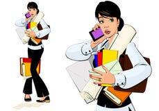 De secretaresse spreekt op de telefoon Stock Foto