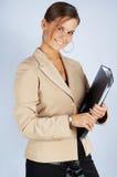 De secretaresse van de schoonheid met documenten Stock Foto