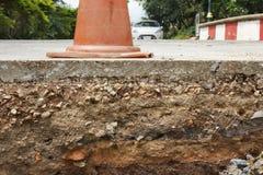 De sectie van weg onder bouw Stock Fotografie