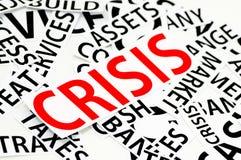 De secties van het document op de crisis in rood Stock Foto