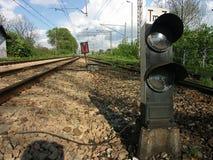 De seinpaal van de spoorweg Royalty-vrije Stock Foto