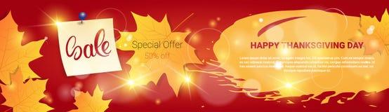 De Seizoengebonden Prijs van Autumn Traditional Holiday Shopping Discount van de thanksgiving dayverkoop van Banner vector illustratie