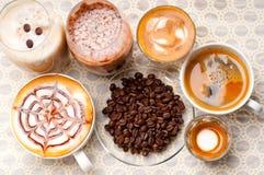 Selectie van verschillend koffietype royalty-vrije stock afbeeldingen