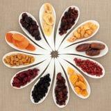 De Selectie van het gedroogd fruit stock foto's