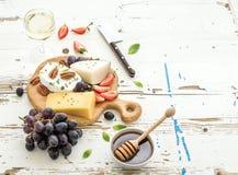 De selectie van het kaasvoorgerecht of de reeks van de wijnsnack royalty-vrije stock afbeelding