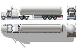 De semi-vrachtwagen van de tanker Stock Afbeeldingen