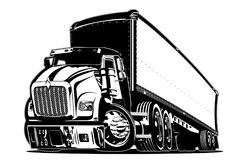 De semi vrachtwagen van het beeldverhaal Stock Foto's