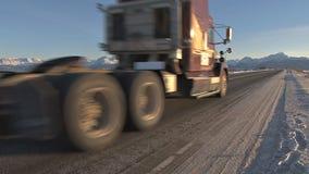 De semi vrachtwagentractor leidt onderaan het spitweg van Homerus stock video