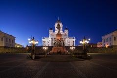 De Senaatsvierkant van Helsinki bij Nacht Stock Foto
